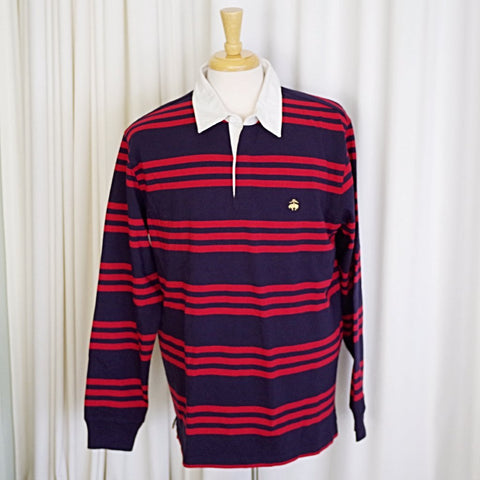 NWT Brooks Brothers Gold Fleece Navy and Red Striped Rugby Shirt- L
