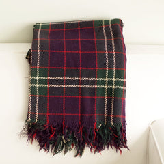 Vintage Blue, Red, and Green Check Wool Blanket