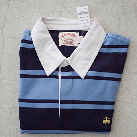 Brooks Brothers Gold Fleece Navy and Blue Striped Rugby Shirt- L