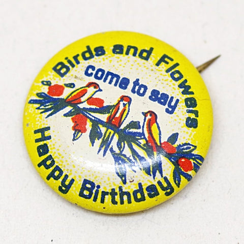 Adorable Birds and Flowers Birthday Pin