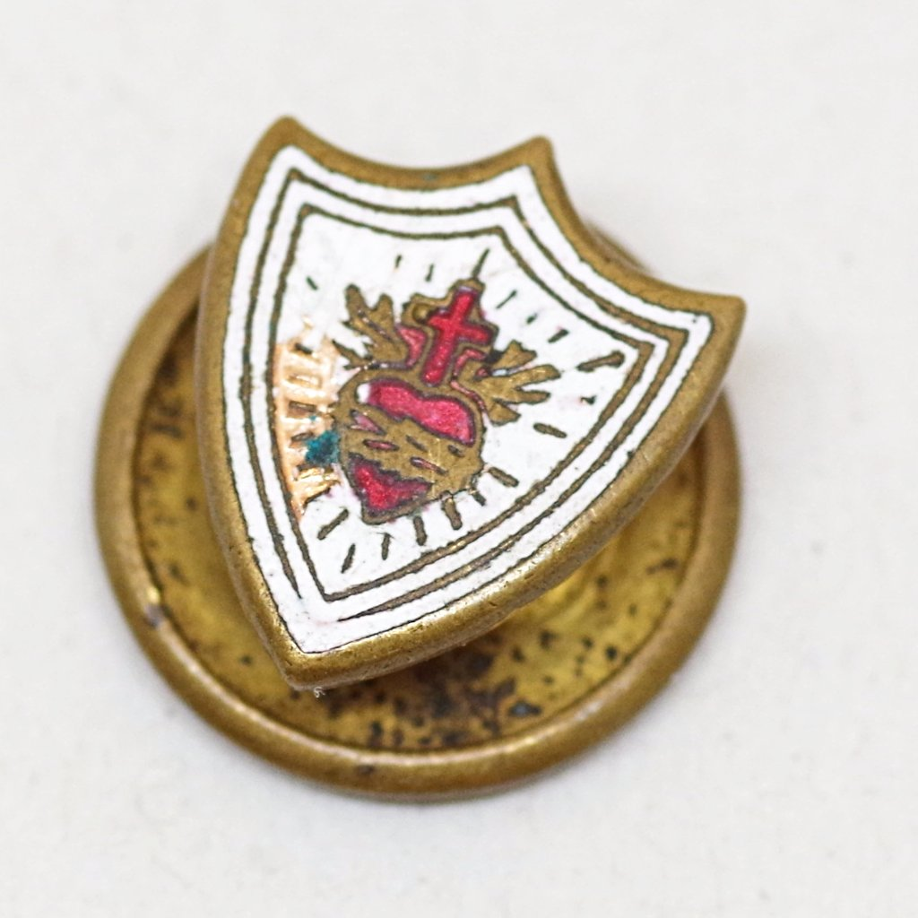 Early 20th Century Sacred Heart Crest Lapel Pin