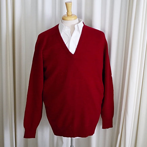 Vintage Scottish Lambswool Burgundy V Neck Sweater- L/XL