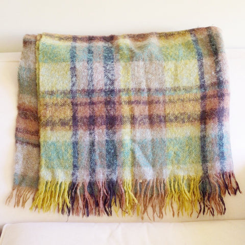 Green, Blue, and Brown Scottish Mohair Blanket