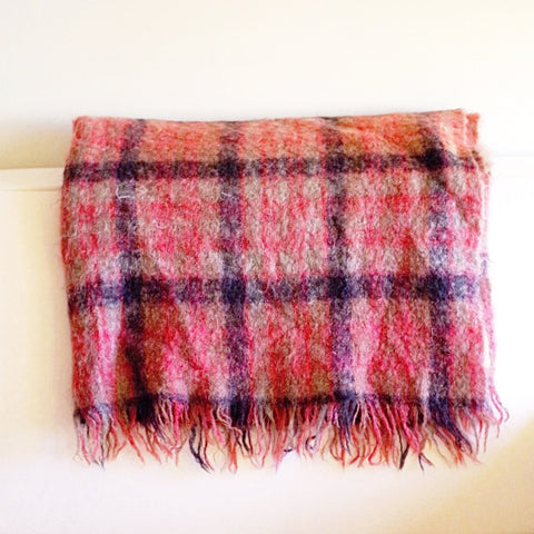 1940s Red and Brown Scottish Mohair Blanket