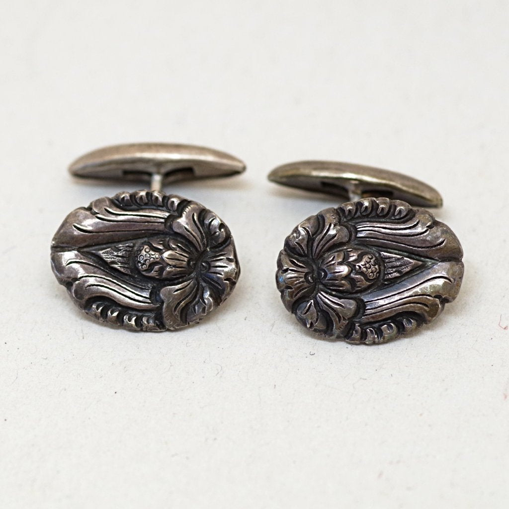 Blooming Silver Art Nouveau Cufflinks