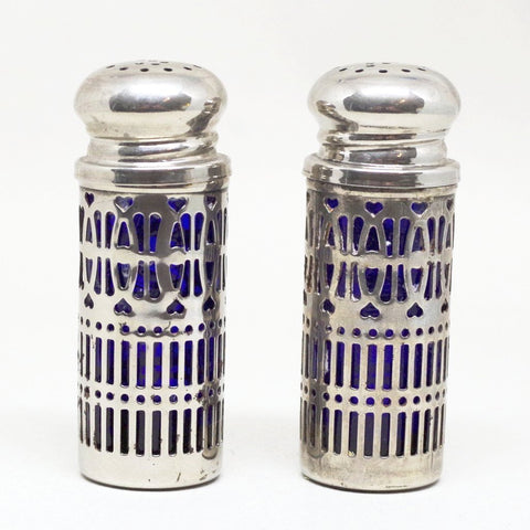 Blue and Latticed Salt and Pepper Shakers