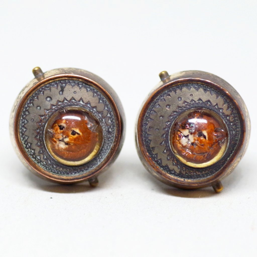 Victorian Cat and Crescent Cufflinks