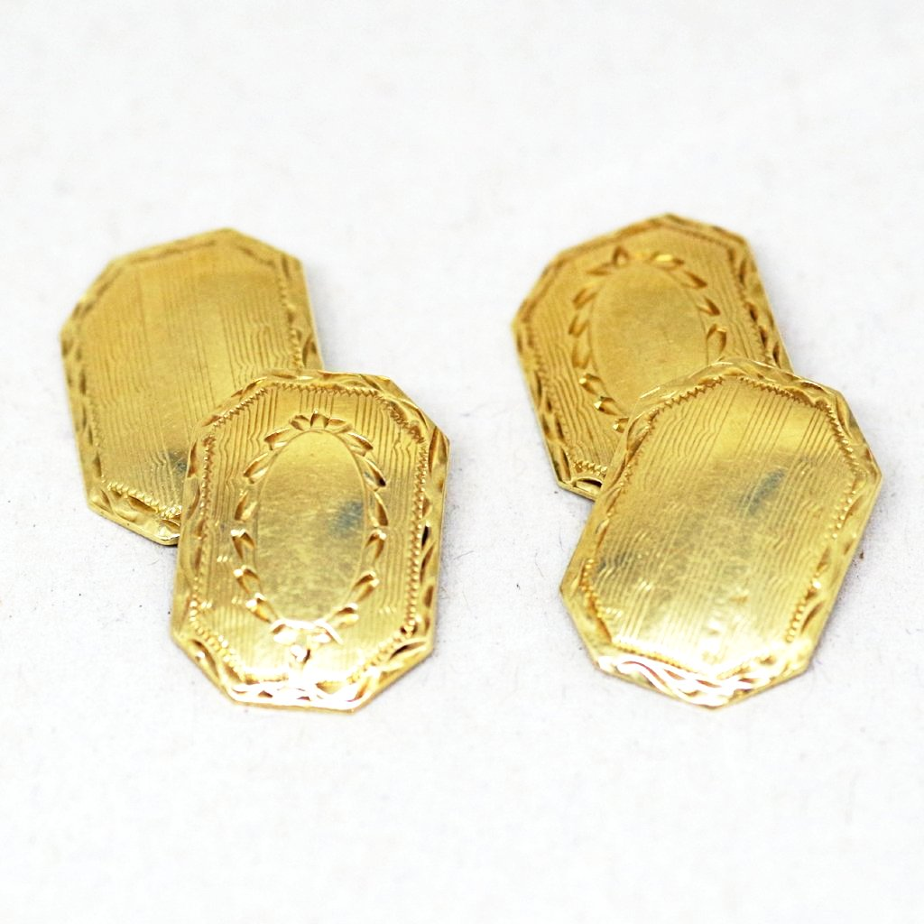 14k Gold Dual Patterned Cufflinks
