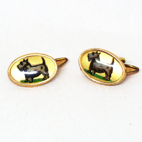 1920s Golden Scotty Dog Profile Cufflinks
