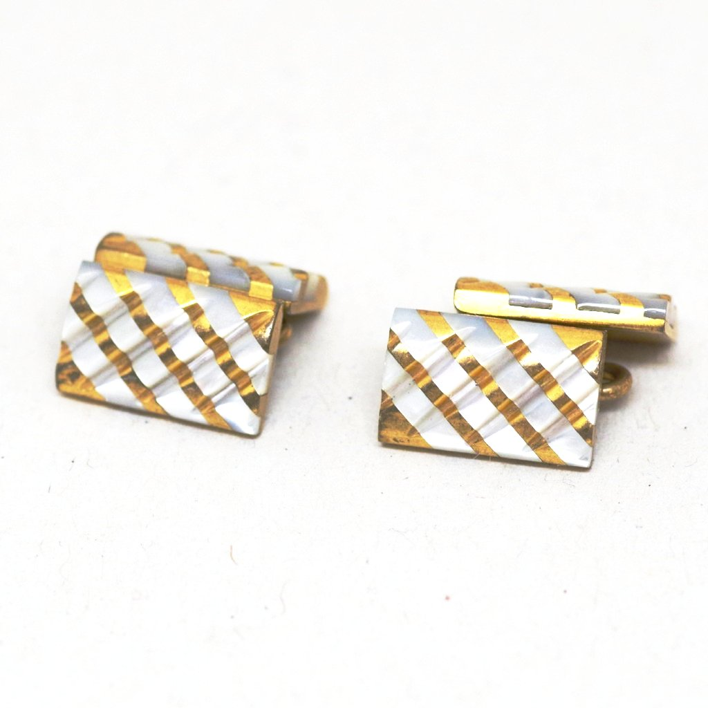 Rippling Ridged Mother of Pearl & Gilt Cufflinks
