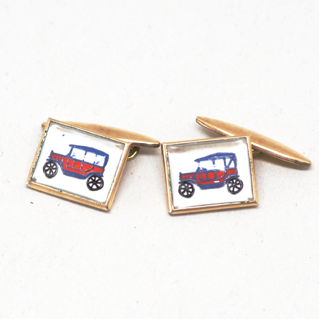 Red 1930s Car Cufflinks