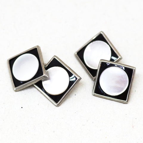 Squared Circle Black and Pearl Cufflinks