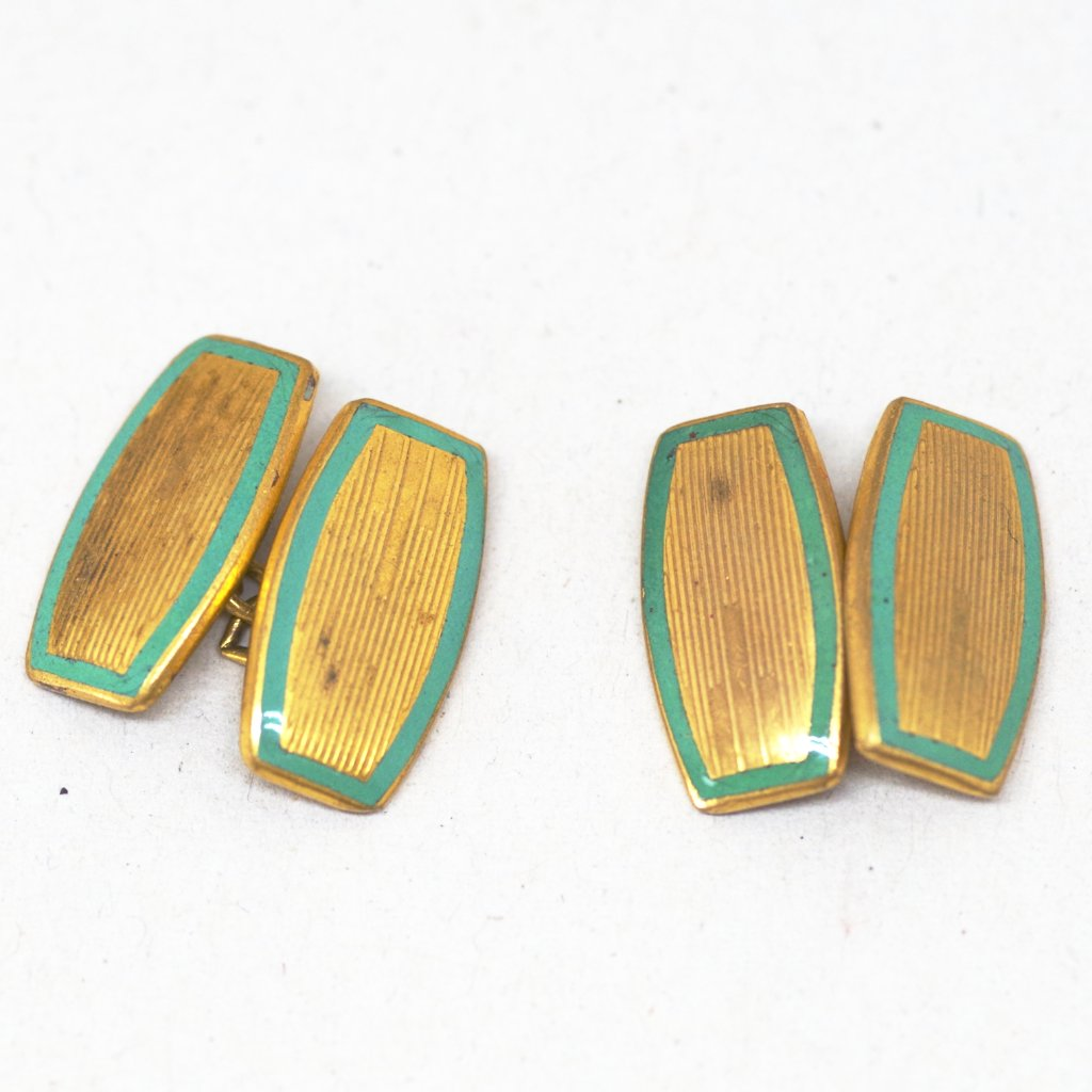 Teal Rimmed Deco Cufflinks
