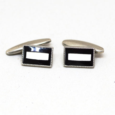 Black with White Bar Cufflinks