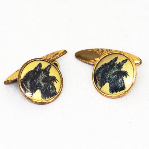Gilt Scotty Dog Face Cufflinks
