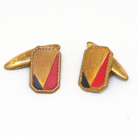 1930s Deco Red and Black Cufflinks