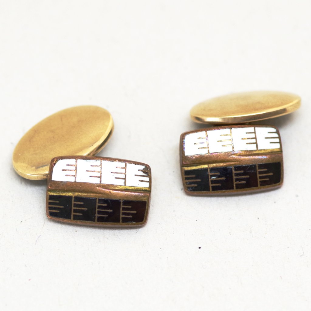 Black and White Lined Cufflinks