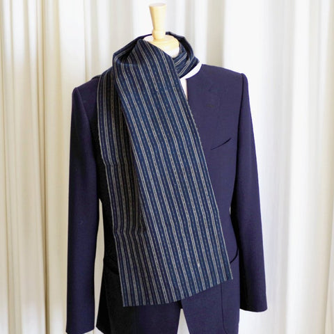 Stripes and Dashes Indigo Japanese Boro & Silk Scarf