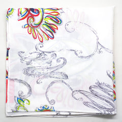 White Sketchy Paisley Rayon Pocket Square by Put This On