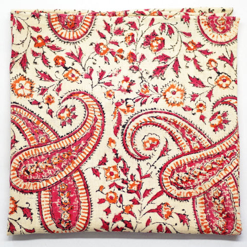 Tan and Red Offset Paisley Cotton Pocket Square by Put This On