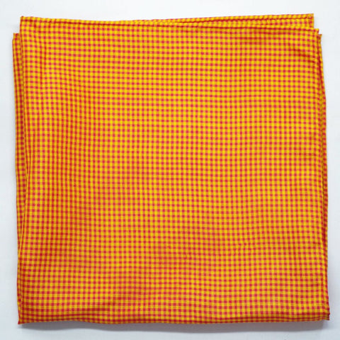 Red and Yellow Gingham Silk Pocket Square by Put This On