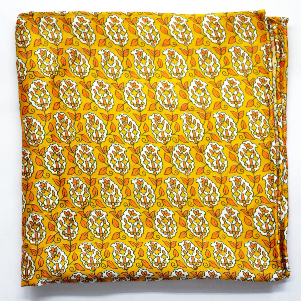 Golden Leaf Silk Pocket Square by Put This On