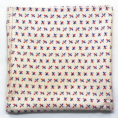 Red and Blue Cross Pattern Ecru Rayon Pocket Square by Put This On