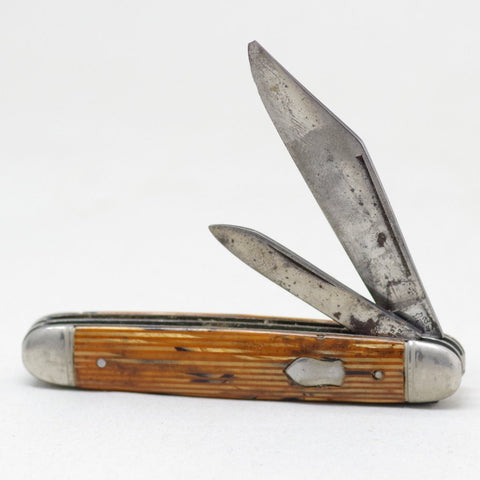 Brown Striped Pocket Knife