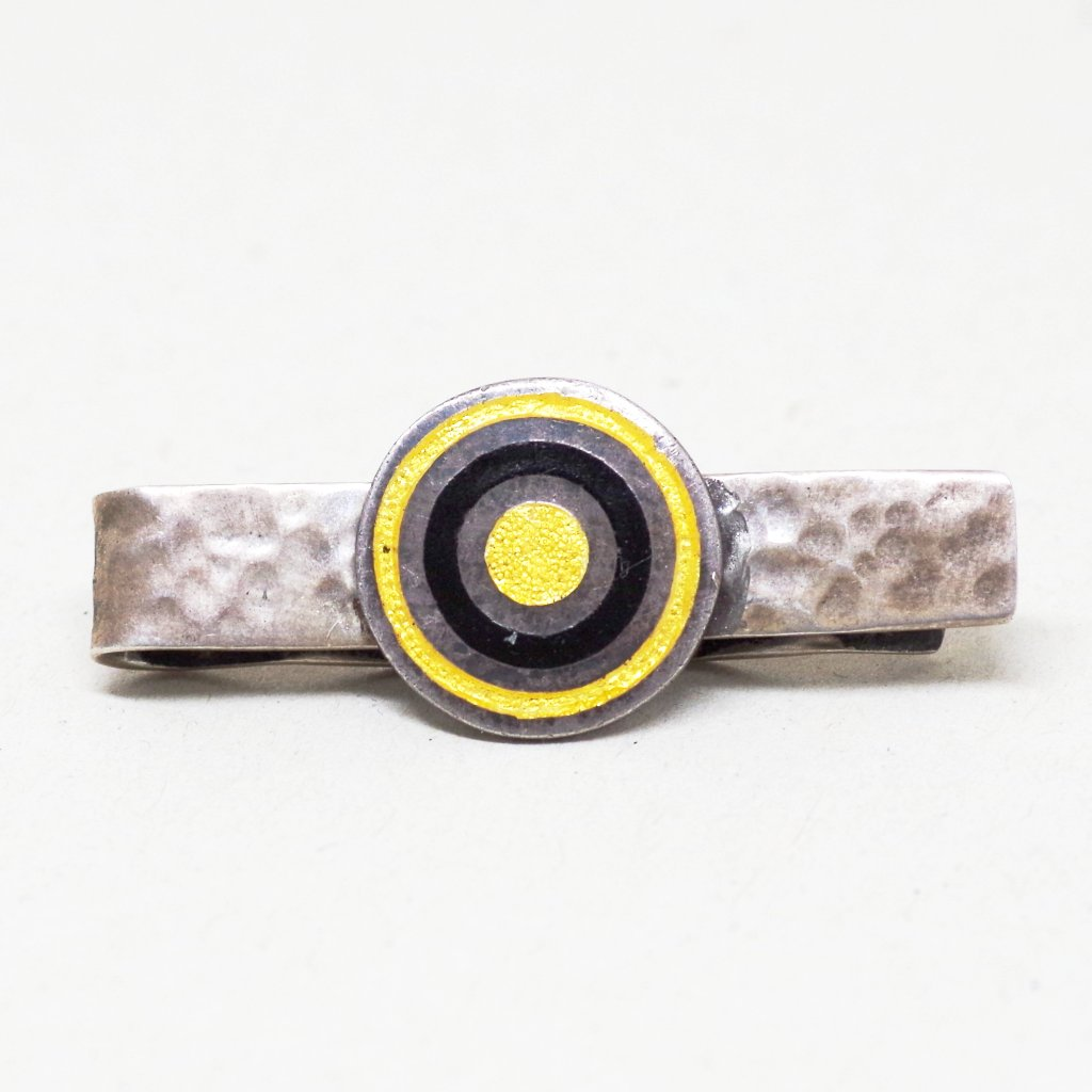Taxco Silver Yellow and Black Bullseye Tie Bar