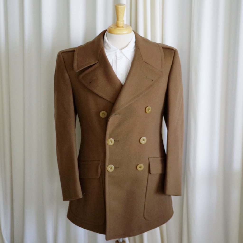 Ca 1940s J Press Olive Double Breasted Army Coat- S
