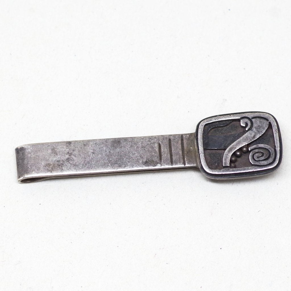 Funky Taxco Sterling Silver Tie Clip