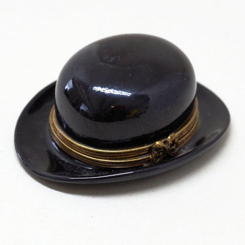 Limoges Porcelain Bowler Hat Case Trinket Box