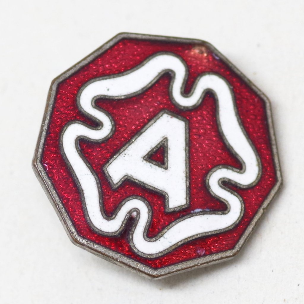 Red and White Enamel A Pin