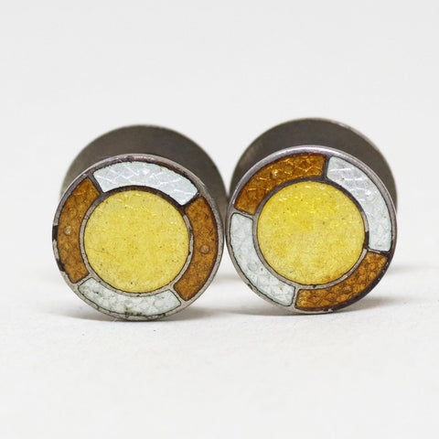 Yellow and Brown Art Deco Enamel Yo-Yo Cufflinks