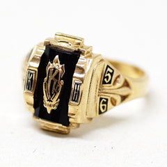 1950s Gold K High School Ring