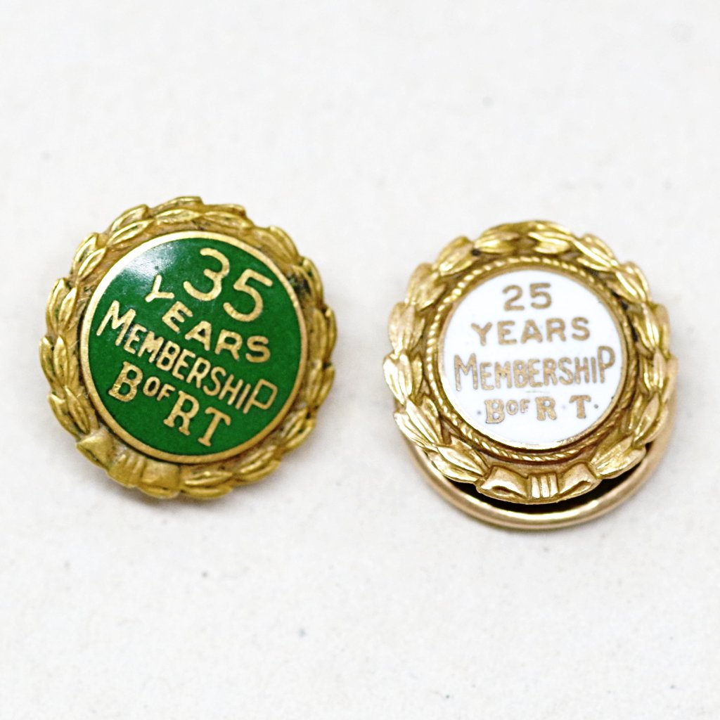 Gold Plated Brotherhood of Railroad Trainmen Membership Screwback Pins