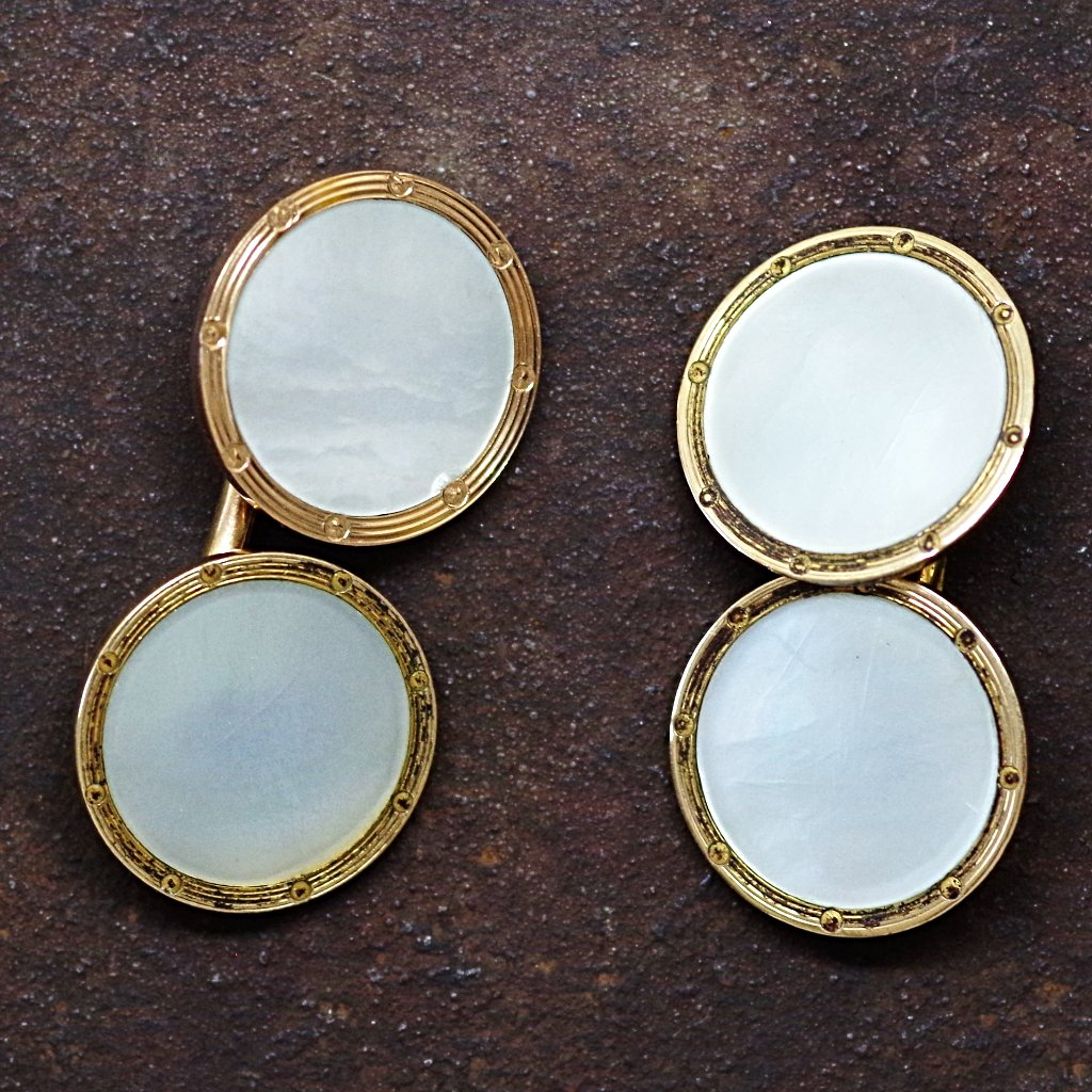14kt Gold Round Mother of Pearl Cufflinks