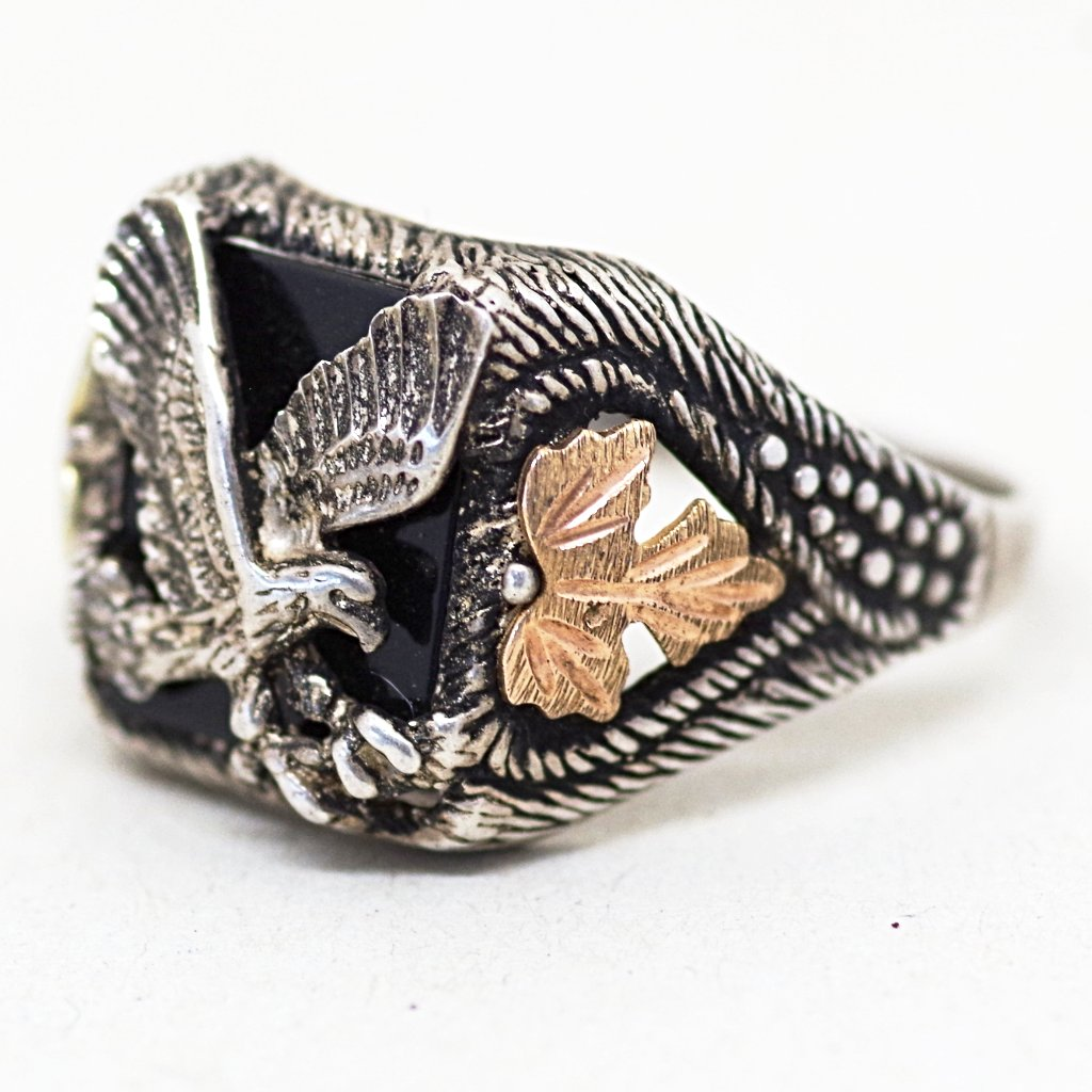 Gold-On-Silver Black Eagle and Leaf Ring