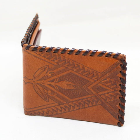 Ca 1950s Braided Tooled Leather Wallet