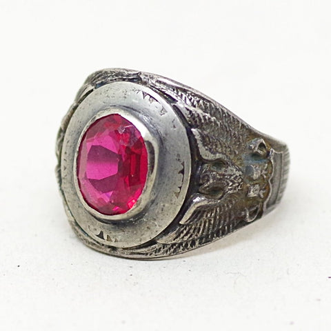 Vintage Red Gem Civilian Conservation Corps Ring