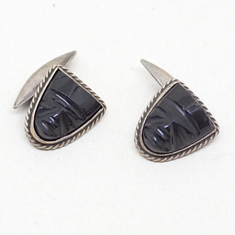 Sterling Silver Black Face Cufflinks