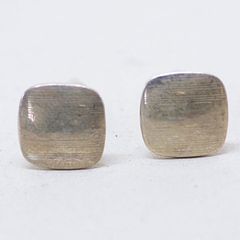 Rounded Square Modernist Silver Cufflinks