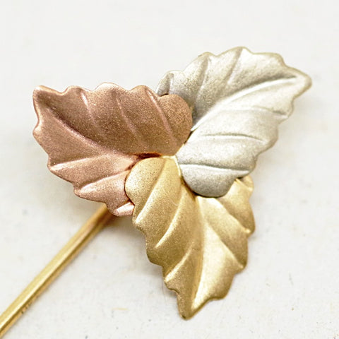 14kt Gold Tricolor Leaf Stick Pin