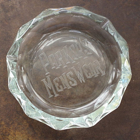 "Hefty Crystal ""Parker's Menswear"" Notions Bowl / Ashtray"