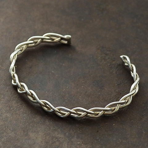 Braided Native Silver Cuff Bracelet