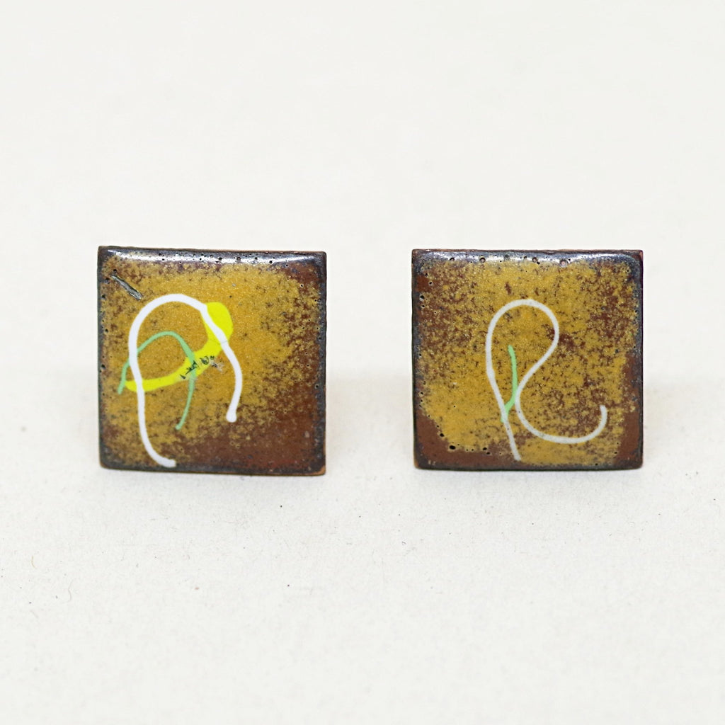 1960s Abstract Brown Enamel Cufflinks