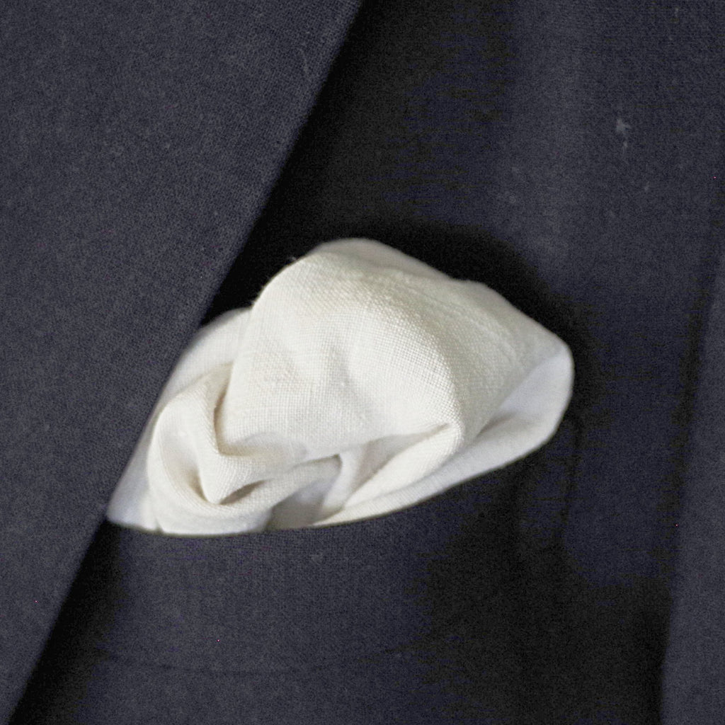 19th Century Hand-loomed White Linen Pocket Square