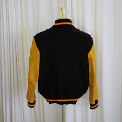 "Vintage Black and Yellow ""C"" Varsity Jacket- 44"