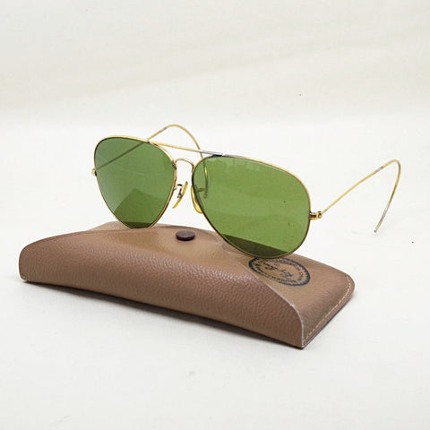 Green Bausch & Lomb Ray-Ban Wire Wrap Aviators w/ Case