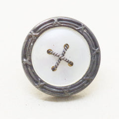 Edwardian Silver Mounted Mother of Pearl Buttons